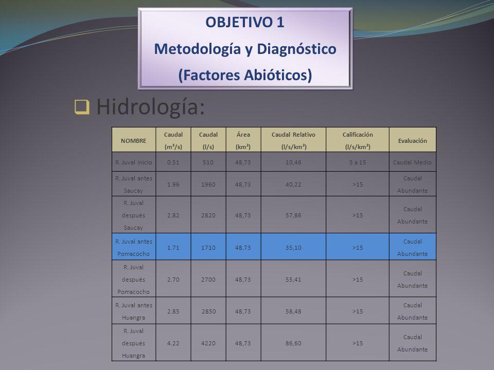 OBJETIVO 1 Metodología y Diagnóstico (Factores Abióticos) OBJETIVO 1 Metodología y Diagnóstico (Factores Abióticos) Hidrología: NOMBRE Caudal (m³/s) C