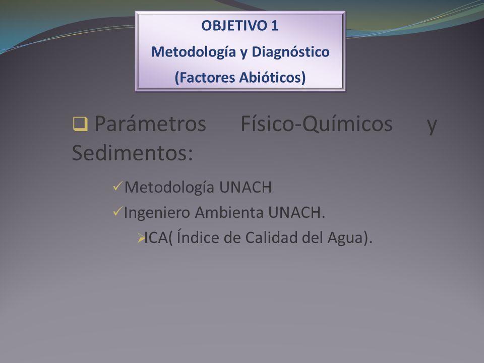 OBJETIVO 1 Metodología y Diagnóstico (Factores Abióticos) OBJETIVO 1 Metodología y Diagnóstico (Factores Abióticos) Parámetros Físico-Químicos y Sedim