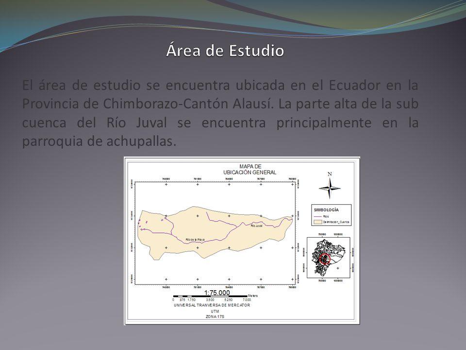 El área de estudio se encuentra ubicada en el Ecuador en la Provincia de Chimborazo-Cantón Alausí. La parte alta de la sub cuenca del Río Juval se enc