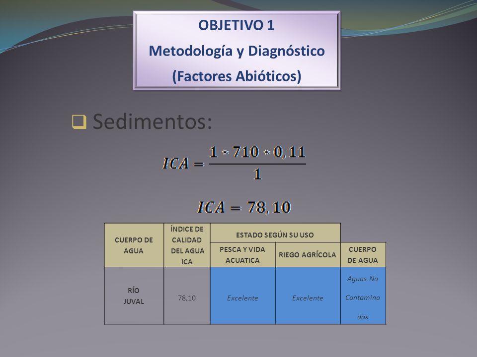 OBJETIVO 1 Metodología y Diagnóstico (Factores Abióticos) OBJETIVO 1 Metodología y Diagnóstico (Factores Abióticos) Sedimentos: CUERPO DE AGUA ÍNDICE