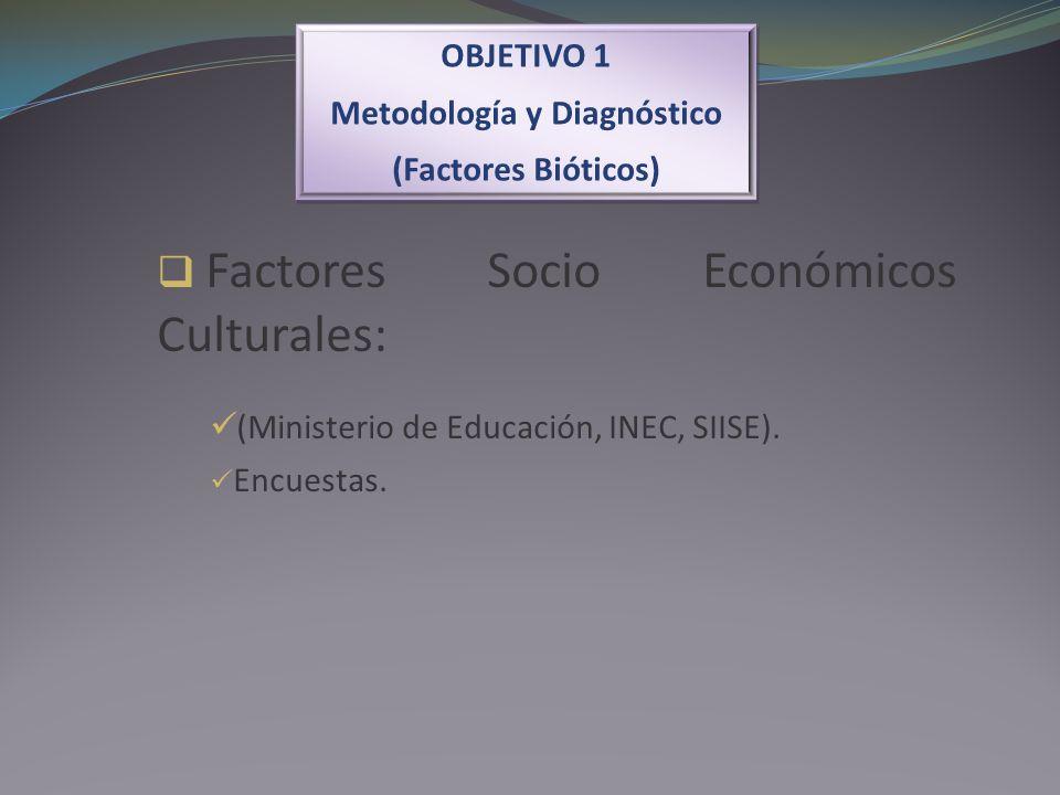 OBJETIVO 1 Metodología y Diagnóstico (Factores Bióticos) OBJETIVO 1 Metodología y Diagnóstico (Factores Bióticos) Factores Socio Económicos Culturales