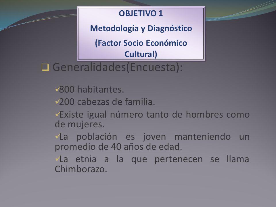 Generalidades(Encuesta): 800 habitantes. 200 cabezas de familia. Existe igual número tanto de hombres como de mujeres. La población es joven mantenien