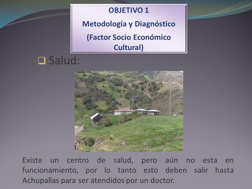 Salud: OBJETIVO 1 Metodología y Diagnóstico (Factor Socio Económico Cultural) OBJETIVO 1 Metodología y Diagnóstico (Factor Socio Económico Cultural) E
