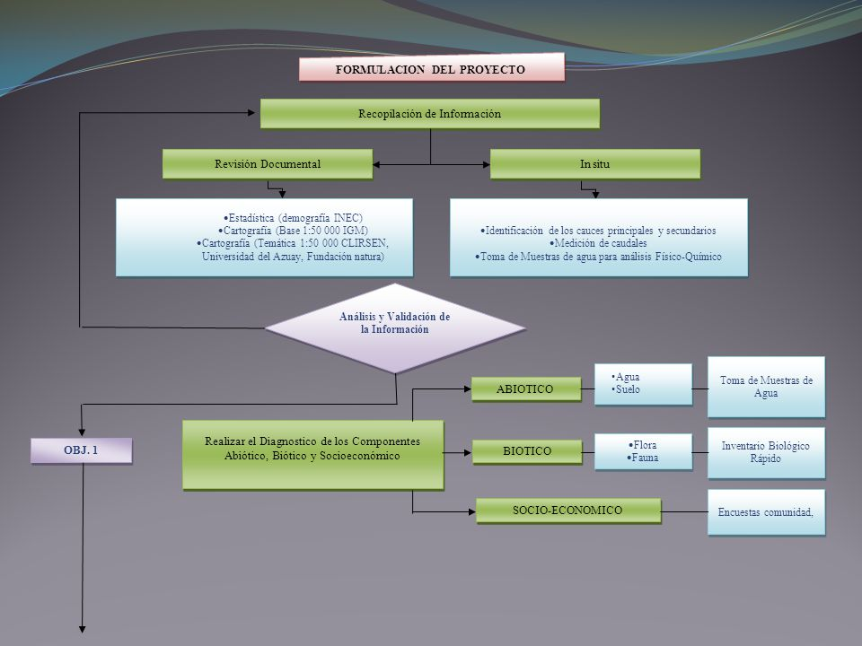 OBJ. 1 FORMULACION DEL PROYECTO Recopilación de Información Revisión Documental In situ Estadística (demografía INEC) Cartografía (Base 1:50 000 IGM)