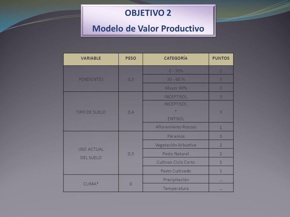 OBJETIVO 2 Modelo de Valor Productivo OBJETIVO 2 Modelo de Valor Productivo VARIABLEPESOCATEGORÍAPUNTOS PENDIENTES0,3 0 - 30%2 30 - 60 %3 Mayor 60%3 T