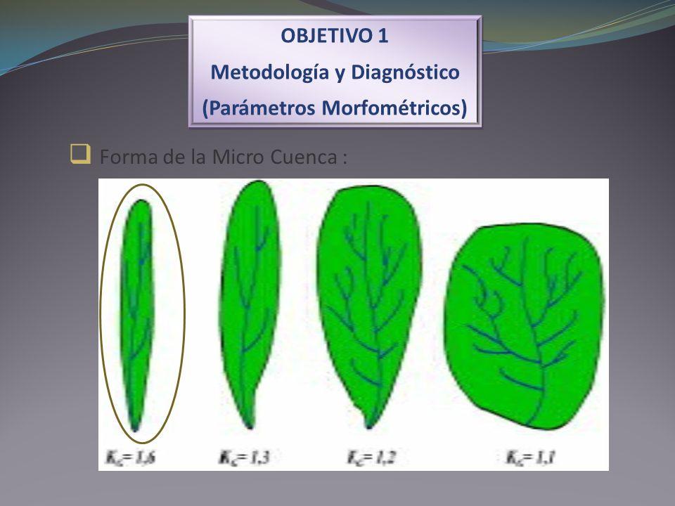 Forma de la Micro Cuenca : OBJETIVO 1 Metodología y Diagnóstico (Parámetros Morfométricos) OBJETIVO 1 Metodología y Diagnóstico (Parámetros Morfométri