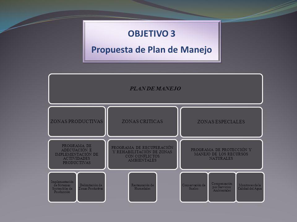 OBJETIVO 3 Propuesta de Plan de Manejo OBJETIVO 3 Propuesta de Plan de Manejo PLAN DE MANEJO ZONAS PRODUCTIVAS PROGRAMA DE ADECUACIÓN E IMPLEMENTACIÓN