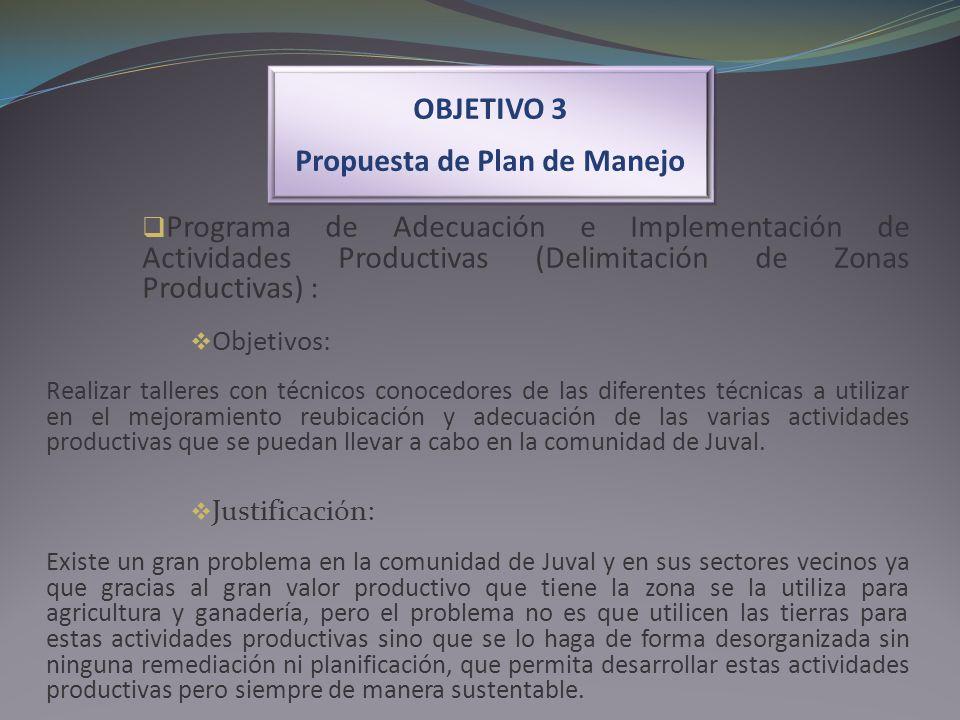 OBJETIVO 3 Propuesta de Plan de Manejo OBJETIVO 3 Propuesta de Plan de Manejo Programa de Adecuación e Implementación de Actividades Productivas (Deli