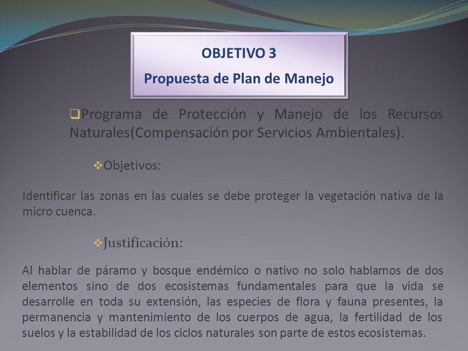 OBJETIVO 3 Propuesta de Plan de Manejo OBJETIVO 3 Propuesta de Plan de Manejo Programa de Protección y Manejo de los Recursos Naturales(Compensación p