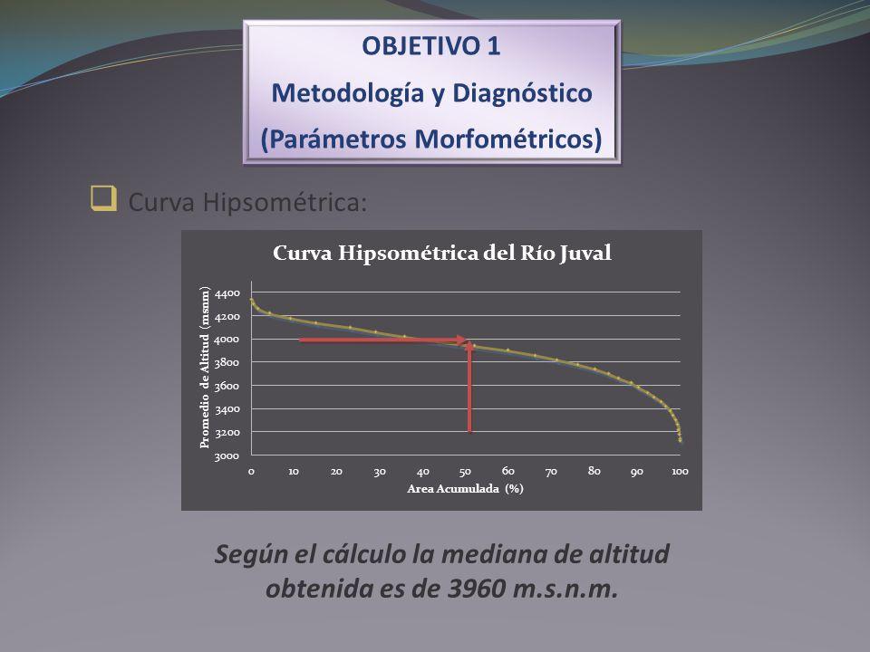 Curva Hipsométrica: Según el cálculo la mediana de altitud obtenida es de 3960 m.s.n.m. OBJETIVO 1 Metodología y Diagnóstico (Parámetros Morfométricos