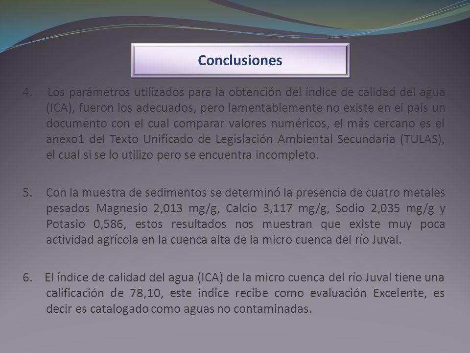 Conclusiones 4. Los parámetros utilizados para la obtención del índice de calidad del agua (ICA), fueron los adecuados, pero lamentablemente no existe