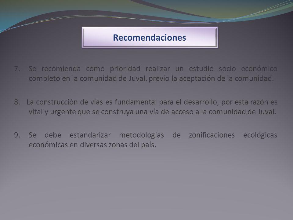 Recomendaciones 7. Se recomienda como prioridad realizar un estudio socio económico completo en la comunidad de Juval, previo la aceptación de la comu