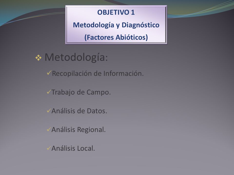 OBJETIVO 1 Metodología y Diagnóstico (Factores Abióticos) OBJETIVO 1 Metodología y Diagnóstico (Factores Abióticos) Metodología : Recopilación de Info