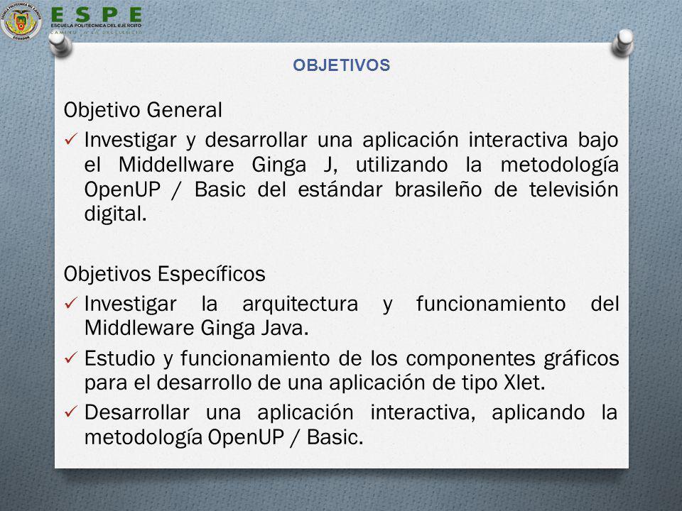 OBJETIVOS Objetivo General Investigar y desarrollar una aplicación interactiva bajo el Middellware Ginga J, utilizando la metodología OpenUP / Basic del estándar brasileño de televisión digital.