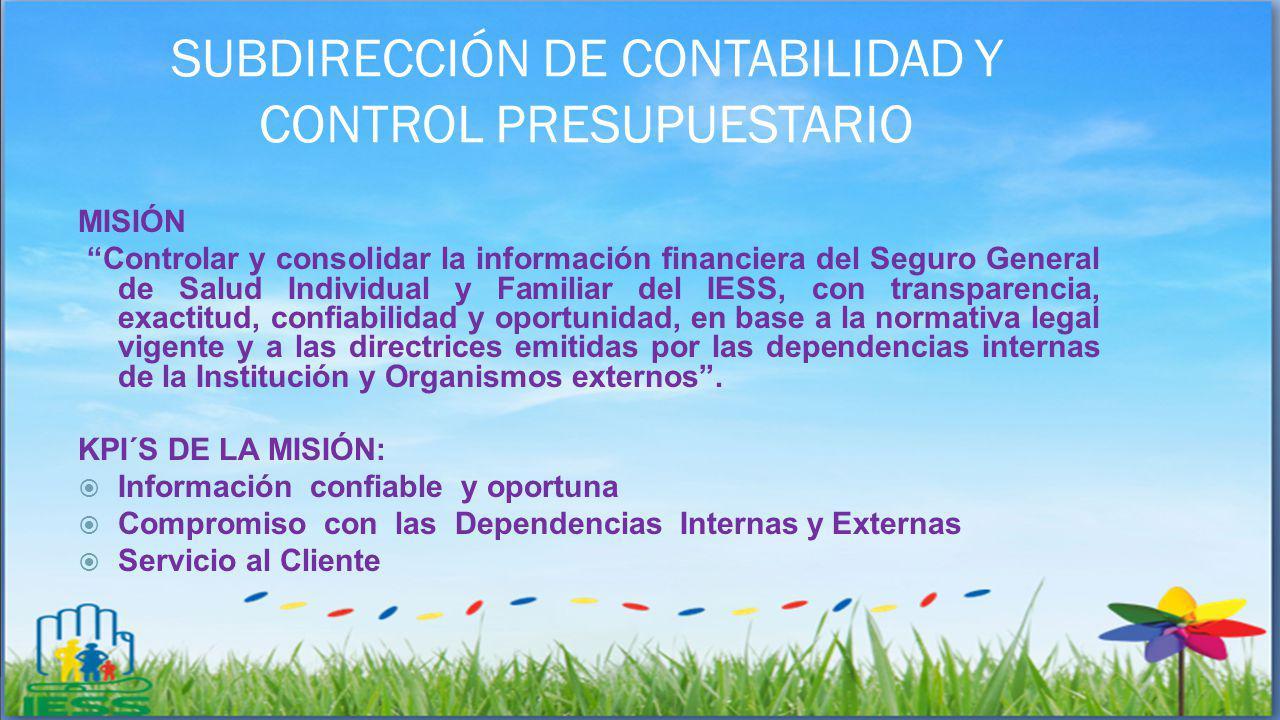 SUBDIRECCIÓN DE CONTABILIDAD Y CONTROL PRESUPUESTARIO MISIÓN Controlar y consolidar la información financiera del Seguro General de Salud Individual y