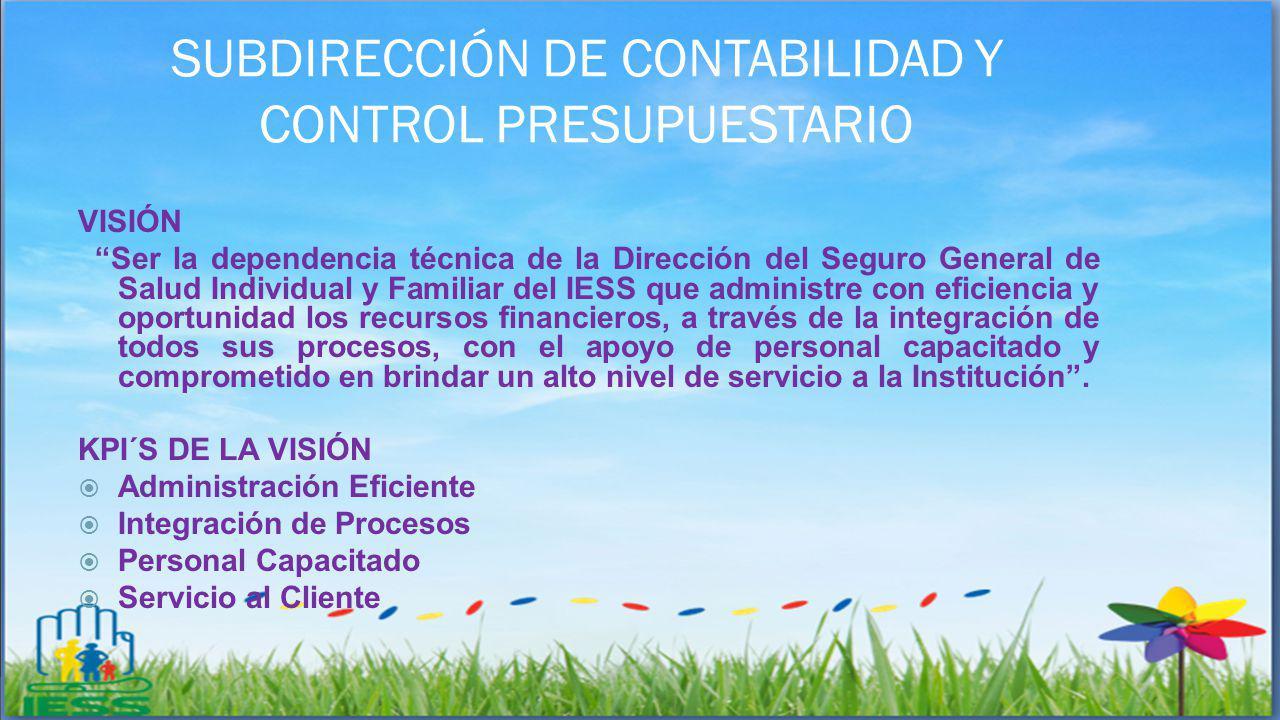 SUBDIRECCIÓN DE CONTABILIDAD Y CONTROL PRESUPUESTARIO VISIÓN Ser la dependencia técnica de la Dirección del Seguro General de Salud Individual y Famil