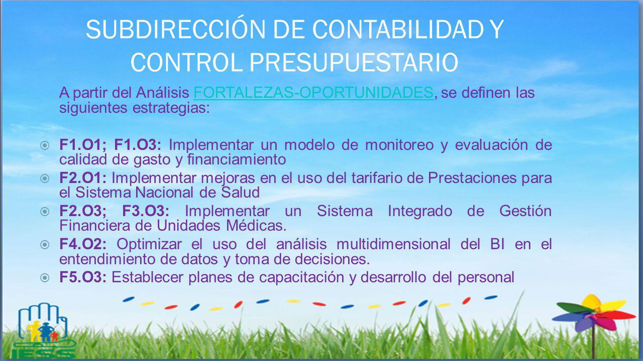 SUBDIRECCIÓN DE CONTABILIDAD Y CONTROL PRESUPUESTARIO A partir del Análisis FORTALEZAS-OPORTUNIDADES, se definen las siguientes estrategias:FORTALEZAS