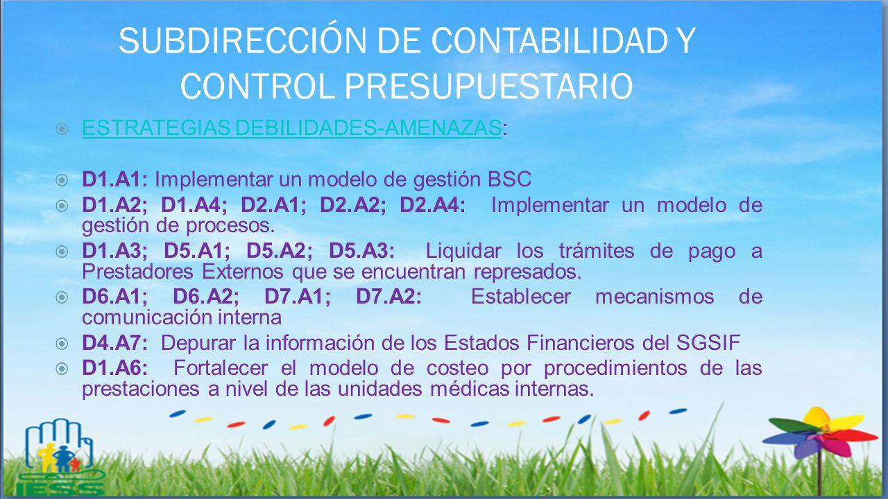 SUBDIRECCIÓN DE CONTABILIDAD Y CONTROL PRESUPUESTARIO ESTRATEGIAS DEBILIDADES-AMENAZAS: ESTRATEGIAS DEBILIDADES-AMENAZAS D1.A1: Implementar un modelo