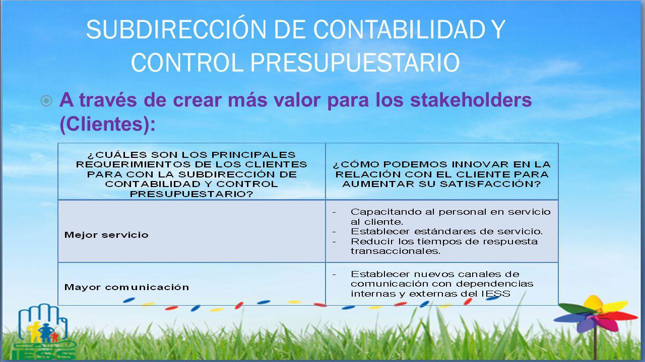 SUBDIRECCIÓN DE CONTABILIDAD Y CONTROL PRESUPUESTARIO A través de crear más valor para los stakeholders (Clientes):