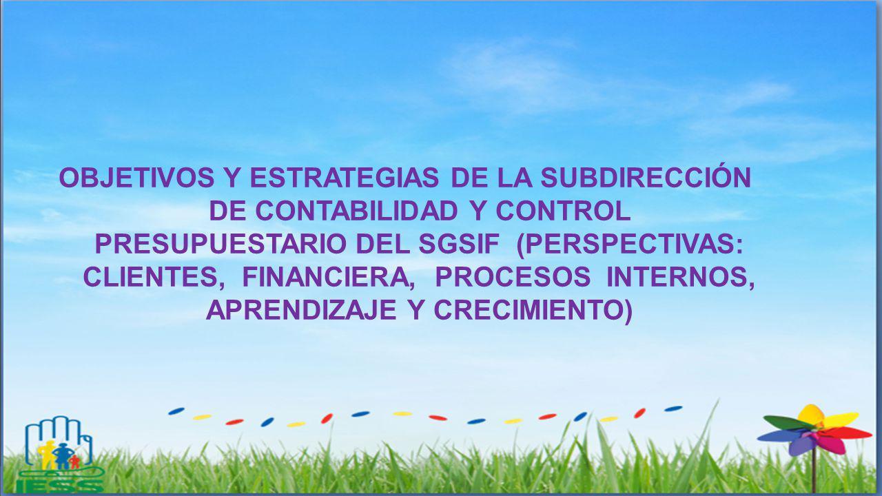OBJETIVOS Y ESTRATEGIAS DE LA SUBDIRECCIÓN DE CONTABILIDAD Y CONTROL PRESUPUESTARIO DEL SGSIF (PERSPECTIVAS: CLIENTES, FINANCIERA, PROCESOS INTERNOS,