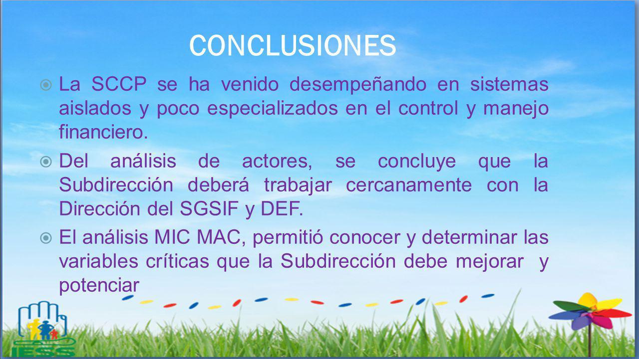 CONCLUSIONES La SCCP se ha venido desempeñando en sistemas aislados y poco especializados en el control y manejo financiero. Del análisis de actores,