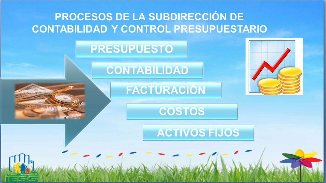 PROCESOS DE LA SUBDIRECCIÓN DE CONTABILIDAD Y CONTROL PRESUPUESTARIO PRESUPUESTO CONTABILIDAD FACTURACIÓN COSTOS ACTIVOS FIJOS