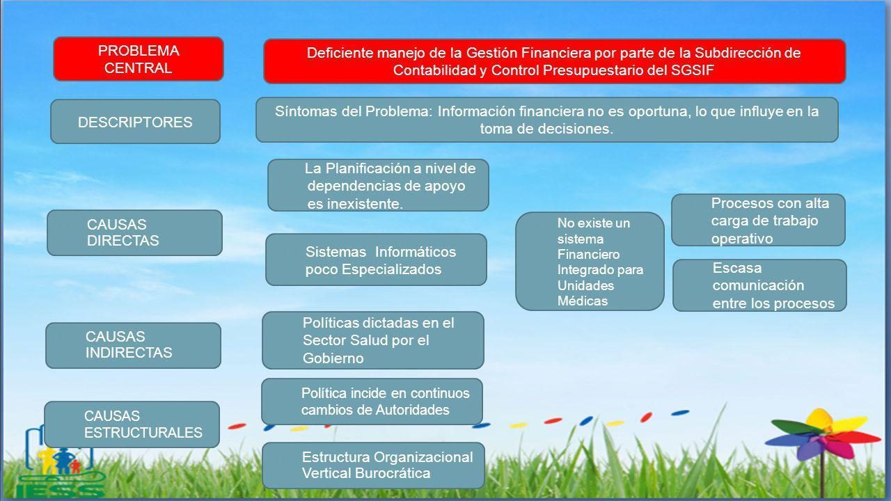 CAUSAS ESTRUCTURALES CAUSAS INDIRECTAS Política incide en continuos cambios de Autoridades Estructura Organizacional Vertical Burocrática Políticas di