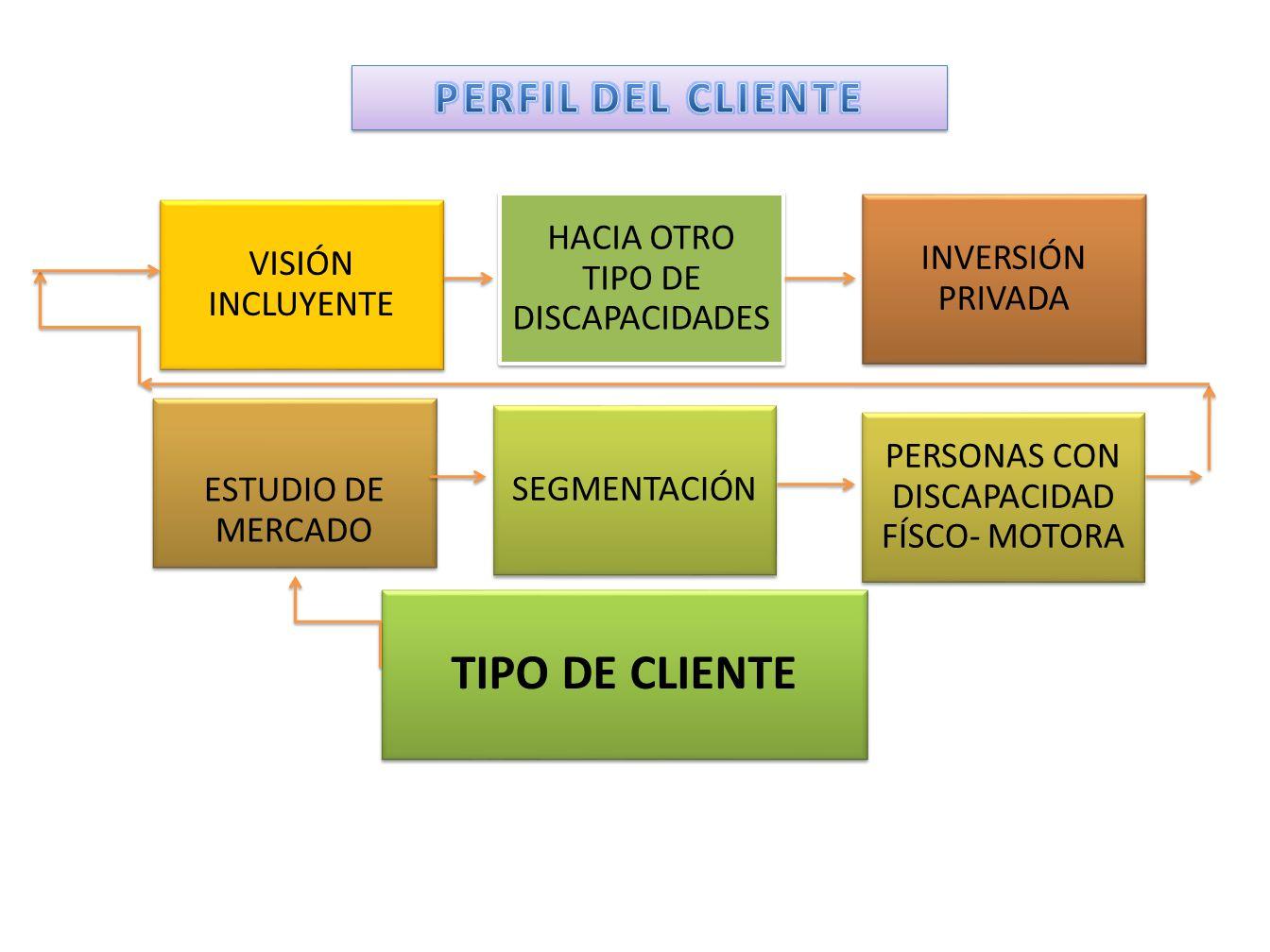 VISIÓN INCLUYENTE HACIA OTRO TIPO DE DISCAPACIDADES INVERSIÓN PRIVADA ESTUDIO DE MERCADO PERSONAS CON DISCAPACIDAD FÍSCO- MOTORA SEGMENTACIÓN TIPO DE CLIENTE