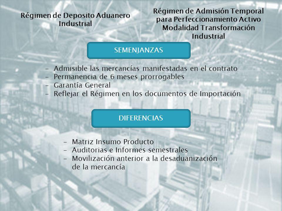 Régimen de Admisión Temporal para Perfeccionamiento Activo Modalidad Transformación Industrial -Admisible las mercancías manifestadas en el contrato -