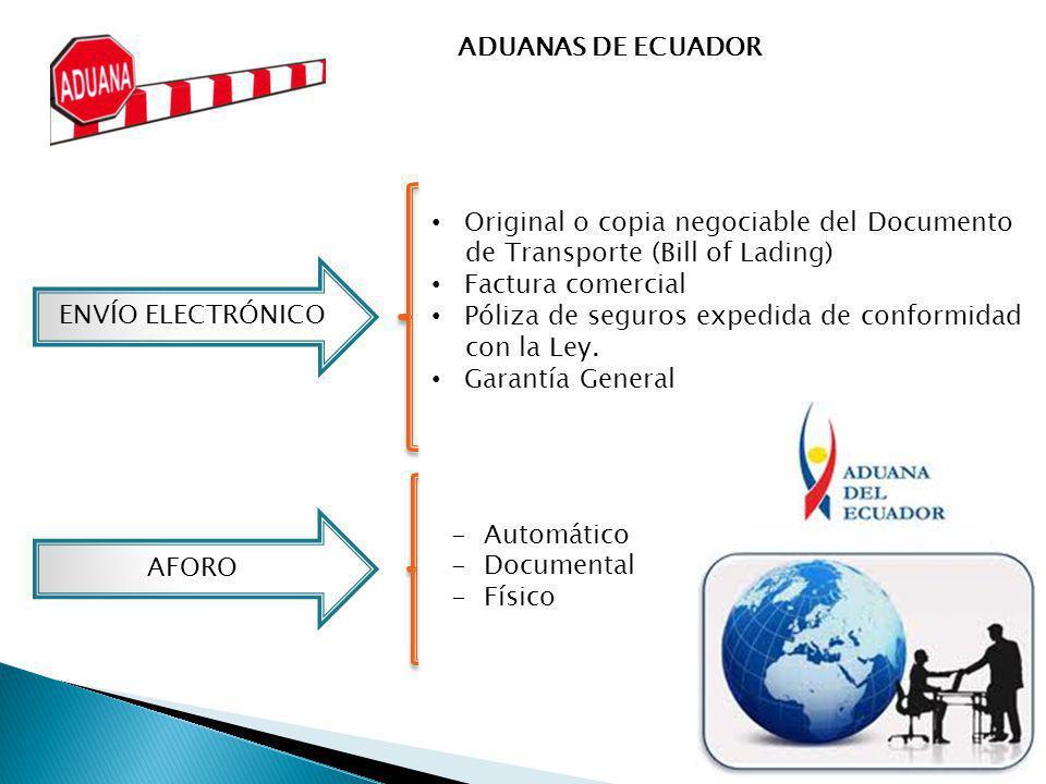ADUANAS DE ECUADOR ENVÍO ELECTRÓNICO Original o copia negociable del Documento de Transporte (Bill of Lading) Factura comercial Póliza de seguros expe