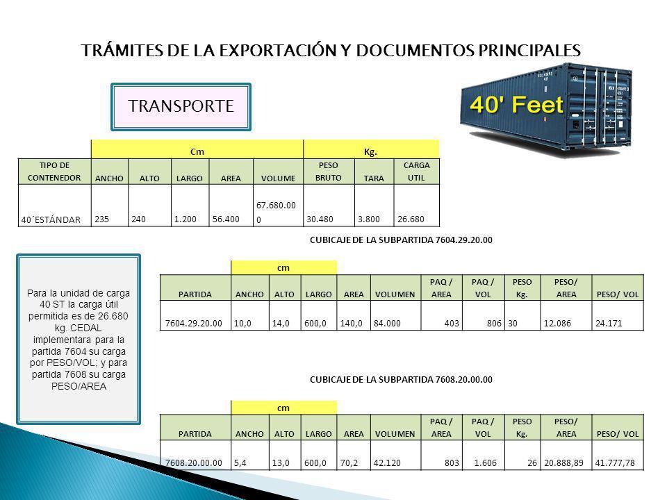 TRÁMITES DE LA EXPORTACIÓN Y DOCUMENTOS PRINCIPALES TRANSPORTE CmKg. TIPO DE CONTENEDORANCHOALTOLARGOAREAVOLUME PESO BRUTOTARA CARGA UTIL 40´ESTÁNDAR