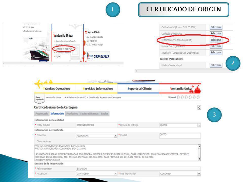 CERTIFICADO DE ORIGEN1 2 3