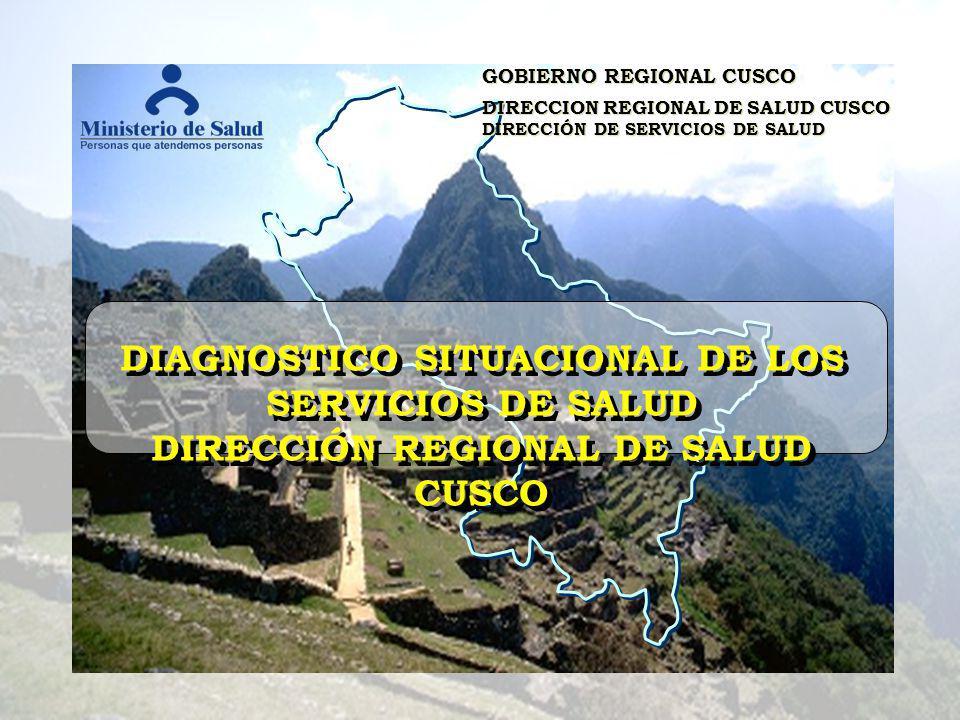 GOBIERNO REGIONAL CUSCO DIRECCION REGIONAL DE SALUD CUSCO DIRECCIÓN DE SERVICIOS DE SALUD GOBIERNO REGIONAL CUSCO DIRECCION REGIONAL DE SALUD CUSCO DIRECCIÓN DE SERVICIOS DE SALUD DIAGNOSTICO SITUACIONAL DE LOS SERVICIOS DE SALUD DIRECCIÓN REGIONAL DE SALUD CUSCO DIAGNOSTICO SITUACIONAL DE LOS SERVICIOS DE SALUD DIRECCIÓN REGIONAL DE SALUD CUSCO