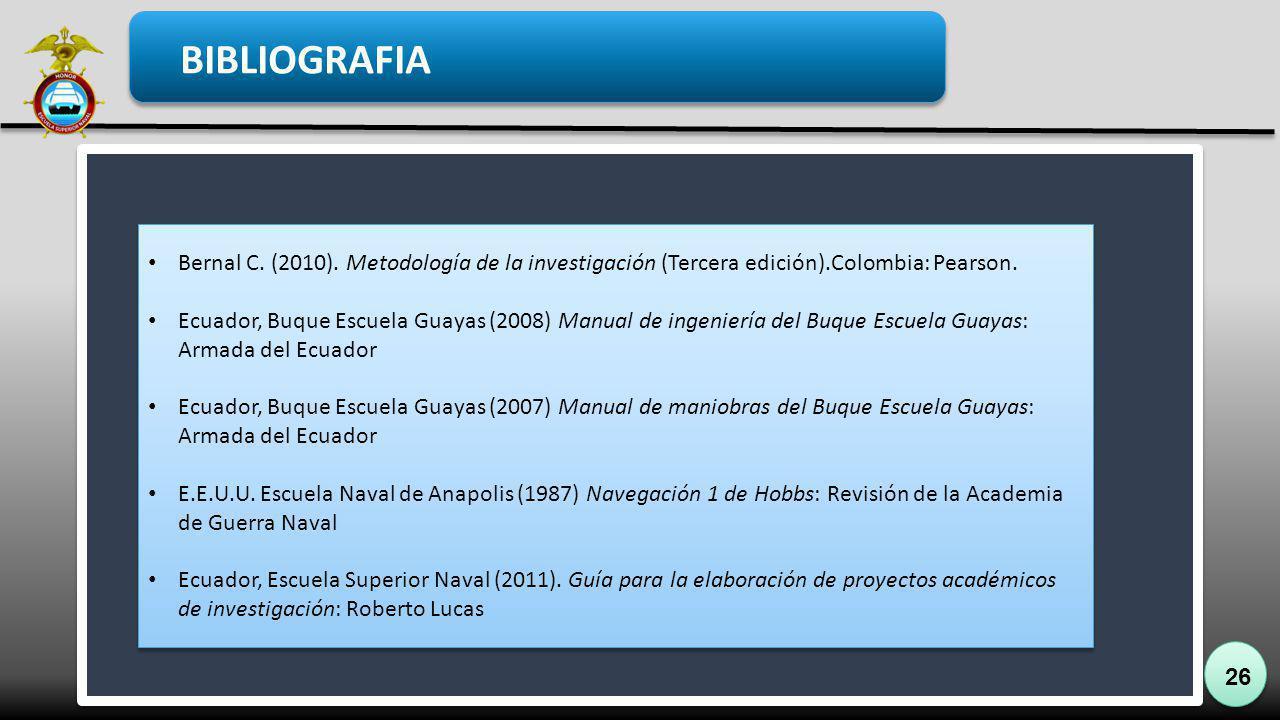 26 BIBLIOGRAFIA Bernal C. (2010). Metodología de la investigación (Tercera edición).Colombia: Pearson. Ecuador, Buque Escuela Guayas (2008) Manual de