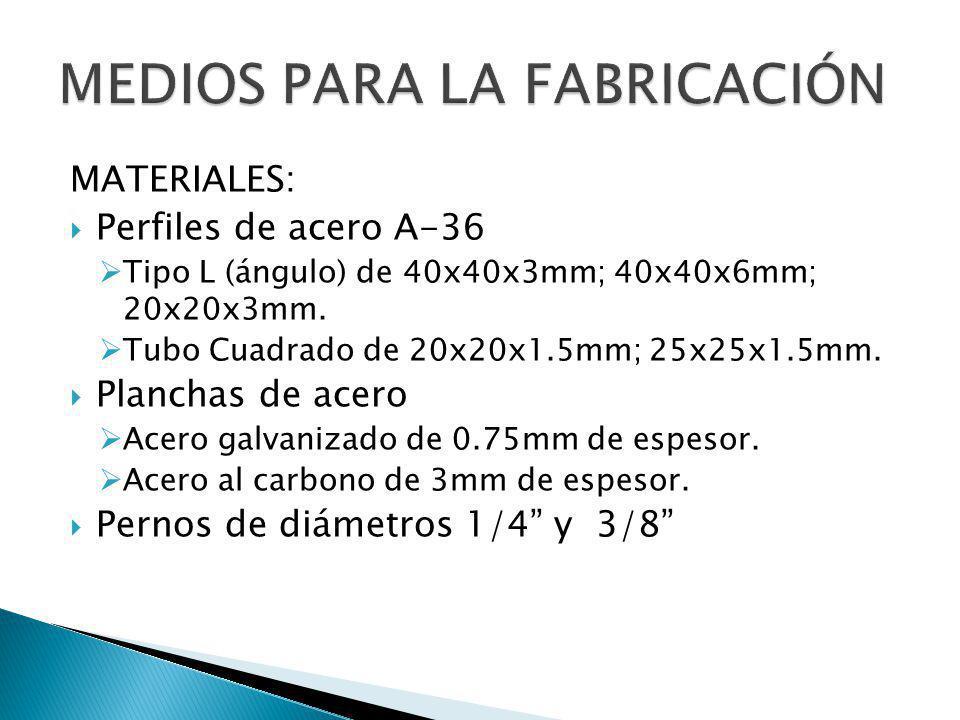 MATERIALES: Perfiles de acero A-36 Tipo L (ángulo) de 40x40x3mm; 40x40x6mm; 20x20x3mm. Tubo Cuadrado de 20x20x1.5mm; 25x25x1.5mm. Planchas de acero Ac