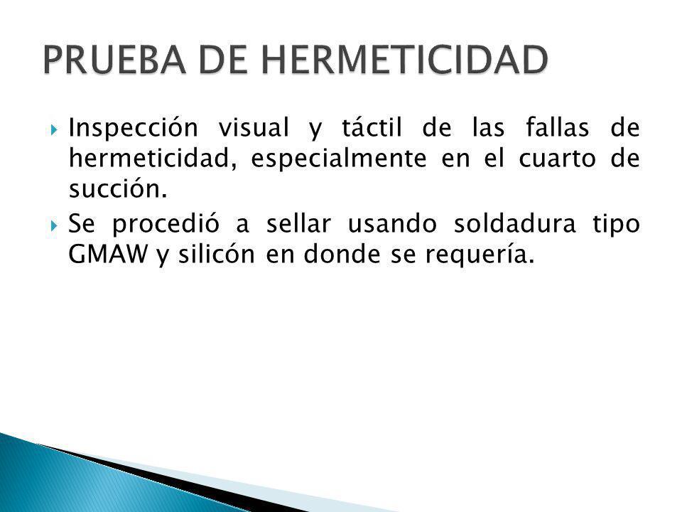 Inspección visual y táctil de las fallas de hermeticidad, especialmente en el cuarto de succión. Se procedió a sellar usando soldadura tipo GMAW y sil
