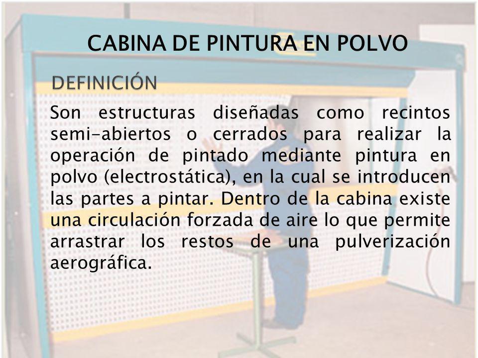 Son estructuras diseñadas como recintos semi-abiertos o cerrados para realizar la operación de pintado mediante pintura en polvo (electrostática), en