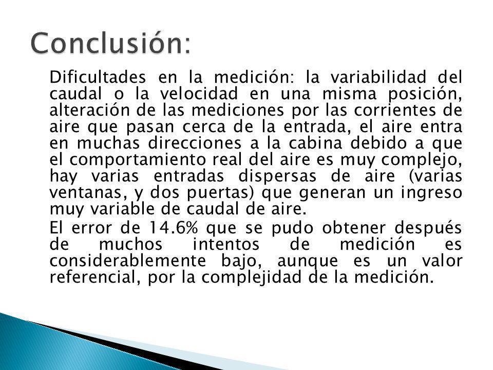 Dificultades en la medición: la variabilidad del caudal o la velocidad en una misma posición, alteración de las mediciones por las corrientes de aire