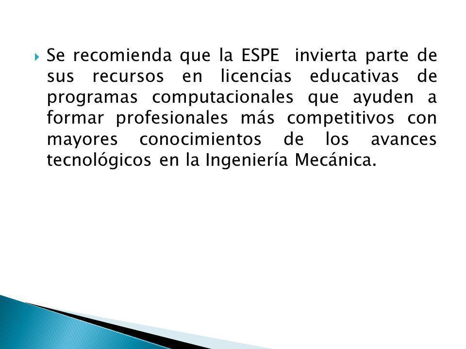Se recomienda que la ESPE invierta parte de sus recursos en licencias educativas de programas computacionales que ayuden a formar profesionales más co