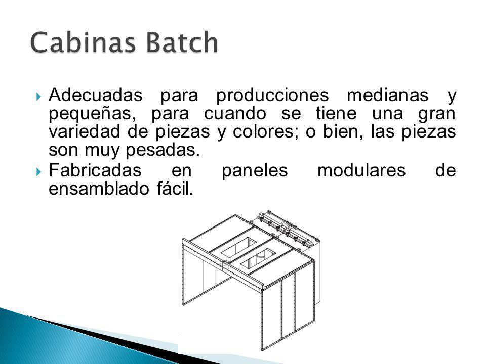 Adecuadas para producciones medianas y pequeñas, para cuando se tiene una gran variedad de piezas y colores; o bien, las piezas son muy pesadas. Fabri