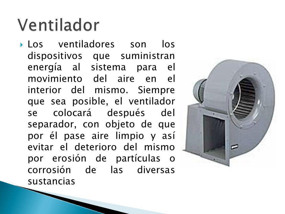 Los ventiladores son los dispositivos que suministran energía al sistema para el movimiento del aire en el interior del mismo. Siempre que sea posible