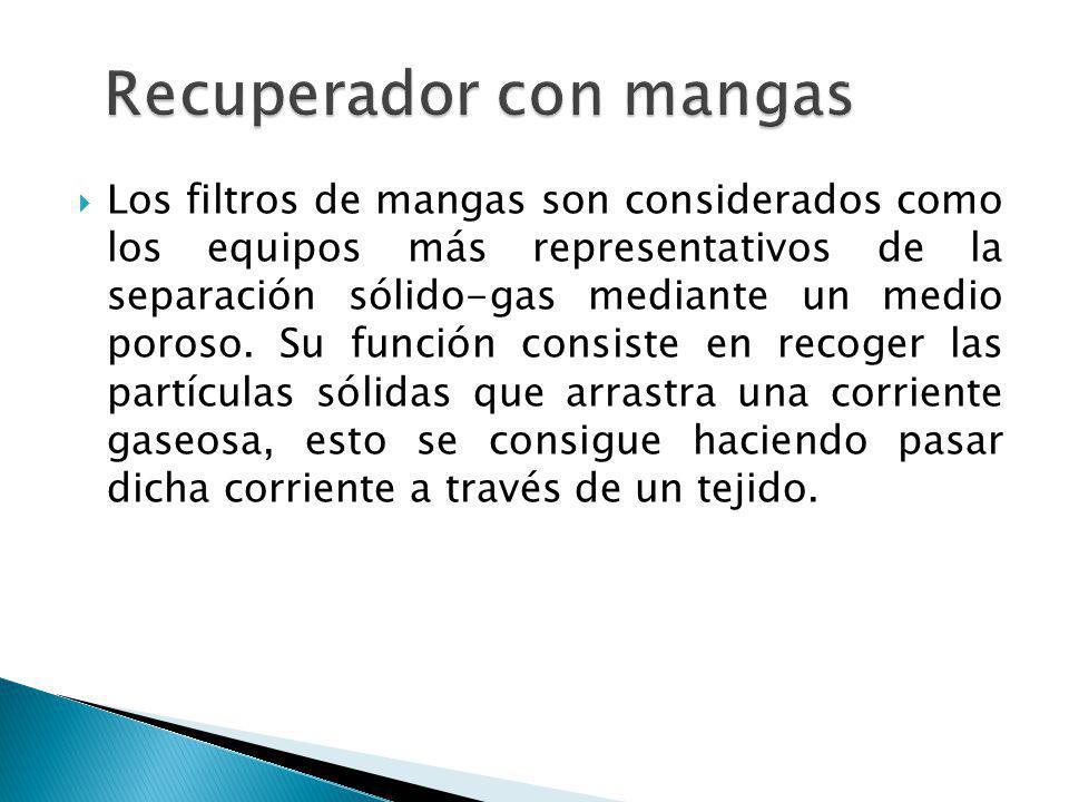 Los filtros de mangas son considerados como los equipos más representativos de la separación sólido-gas mediante un medio poroso. Su función consiste