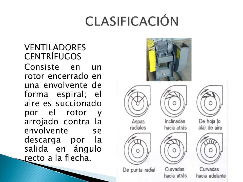 VENTILADORES CENTRÍFUGOS Consiste en un rotor encerrado en una envolvente de forma espiral; el aire es succionado por el rotor y arrojado contra la en