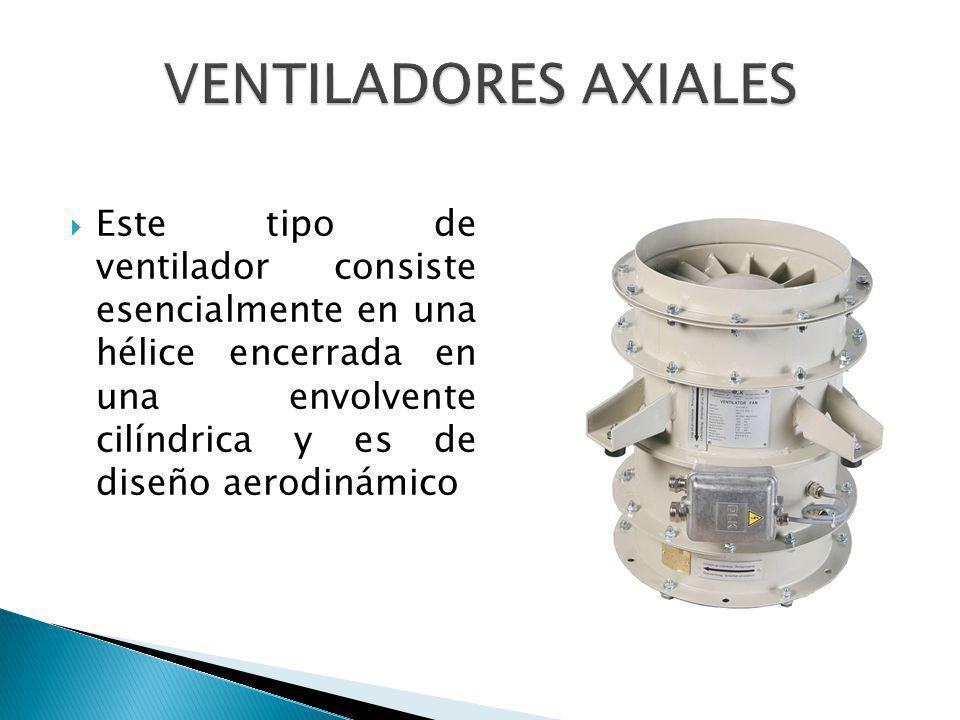 Este tipo de ventilador consiste esencialmente en una hélice encerrada en una envolvente cilíndrica y es de diseño aerodinámico