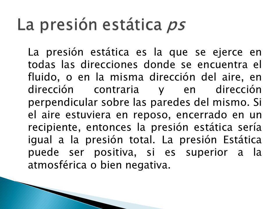 La presión estática es la que se ejerce en todas las direcciones donde se encuentra el fluido, o en la misma dirección del aire, en dirección contrari