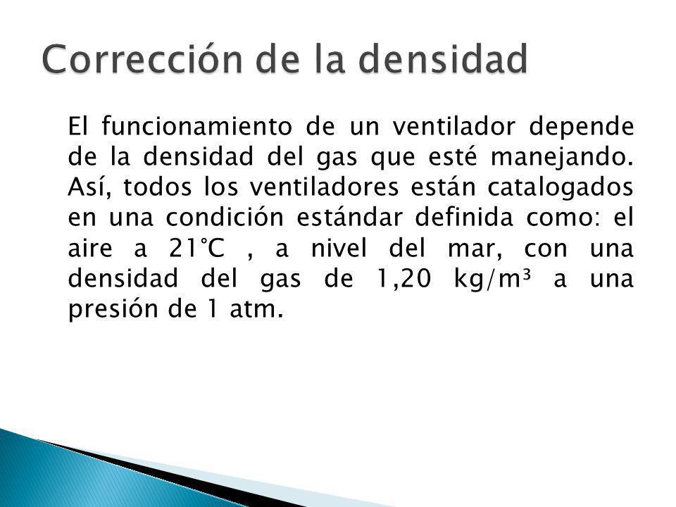 El funcionamiento de un ventilador depende de la densidad del gas que esté manejando. Así, todos los ventiladores están catalogados en una condición e
