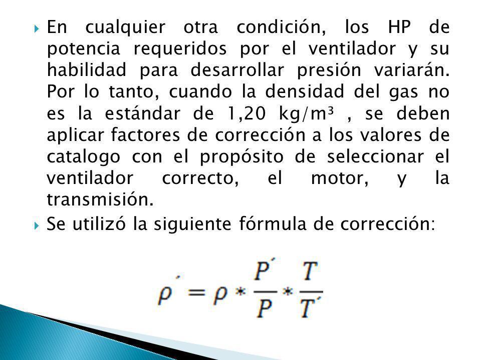 En cualquier otra condición, los HP de potencia requeridos por el ventilador y su habilidad para desarrollar presión variarán. Por lo tanto, cuando la