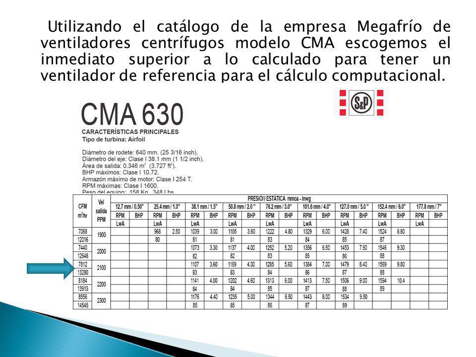 Utilizando el catálogo de la empresa Megafrío de ventiladores centrífugos modelo CMA escogemos el inmediato superior a lo calculado para tener un vent