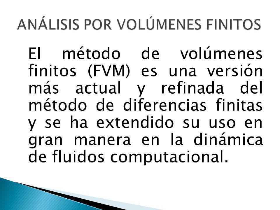 El método de volúmenes finitos (FVM) es una versión más actual y refinada del método de diferencias finitas y se ha extendido su uso en gran manera en