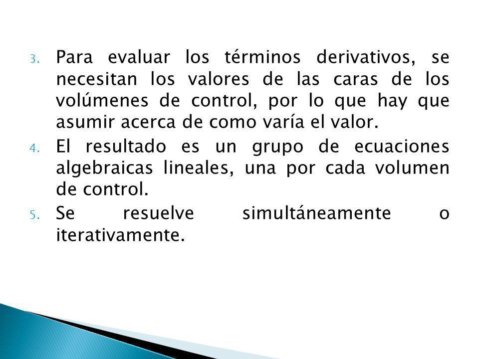 3. Para evaluar los términos derivativos, se necesitan los valores de las caras de los volúmenes de control, por lo que hay que asumir acerca de como